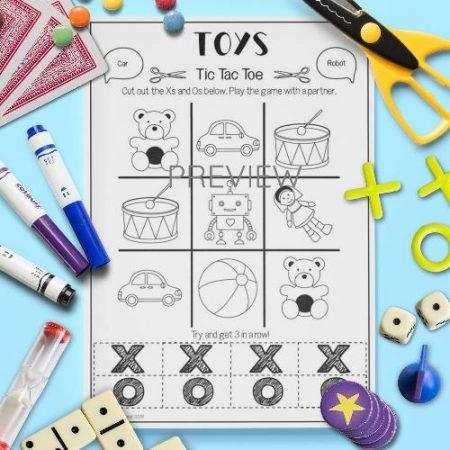 ESL English Toys Tic Tac Toe Game Activity Worksheet