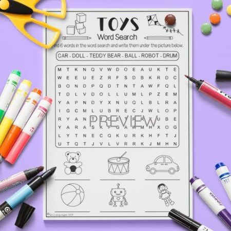 ESL English Toys Word Search Activity Worksheet