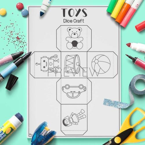 ESL English Toys Dice Craft Activity Worksheet