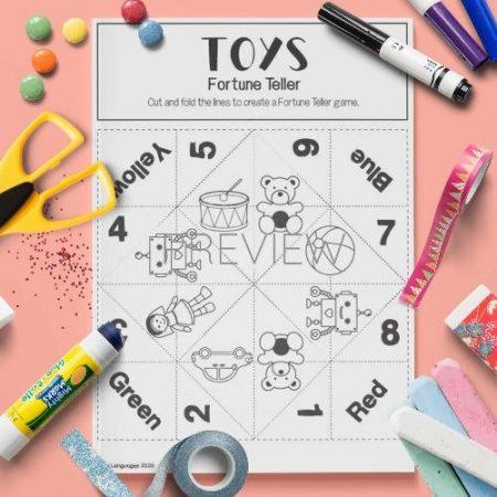 ESL English Toys Fortune Teller Craft Game Activity Worksheet