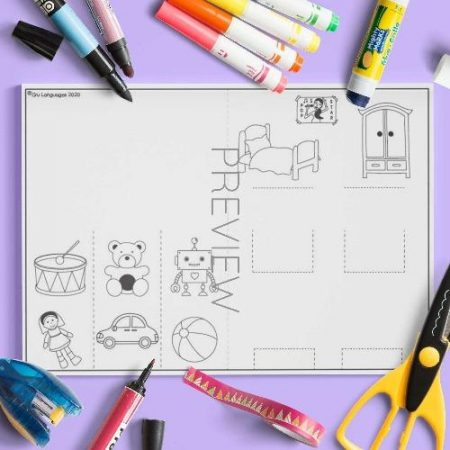 ESL English Toys Pop Up Craft Activity Worksheet