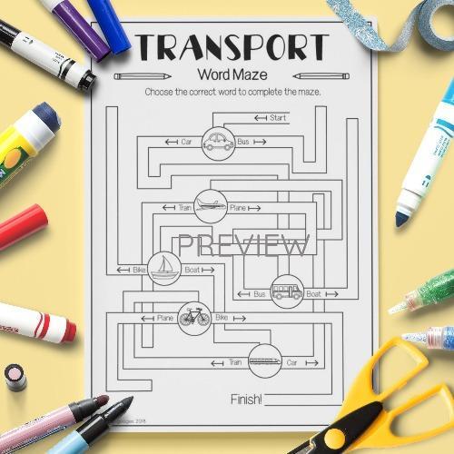 ESL English Transport Word Maze Activity Worksheet