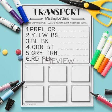 ESL English Transport Missing Letters Activity Worksheet