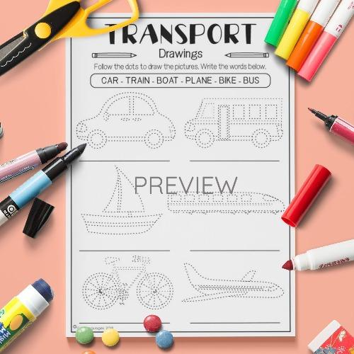 ESL English Transport Drawing Activity Worksheet