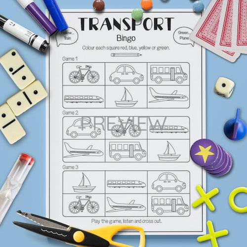 ESL English Transport Bingo Game Activity Worksheet