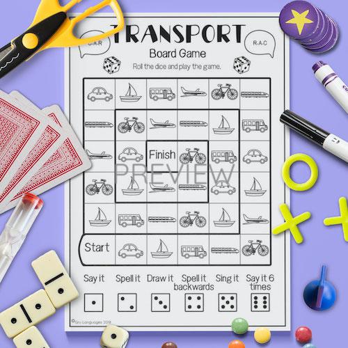 ESL English Transport Board Game Activity Worksheet