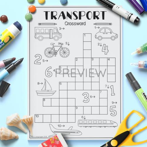 ESL English Transport Crossword Activity Worksheet