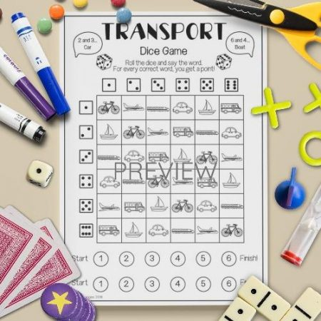 ESL English Transport Dice Game Activity Worksheet
