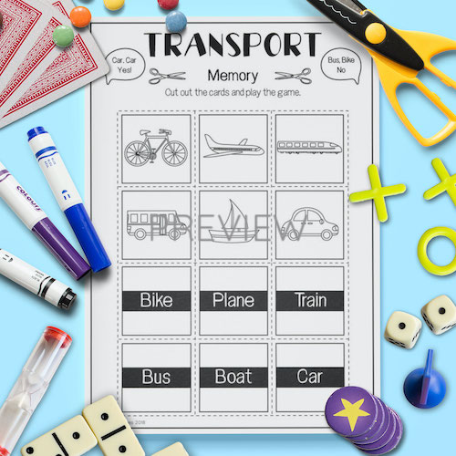 ESL English Transport Memory Game Activity Worksheet