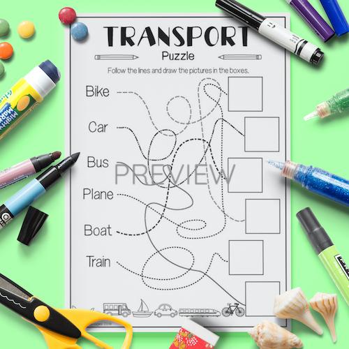 ESL English Transport Puzzle Activity Worksheet