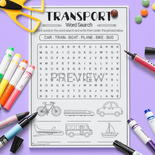 ESL English Transport Word Search Activity Worksheet