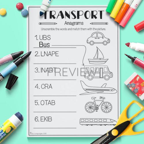 ESL English Transport Anagrams Activity Worksheet