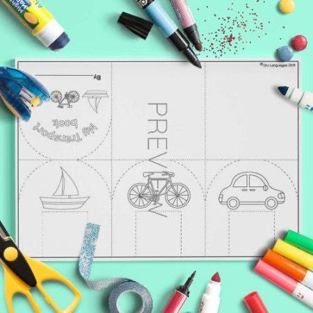 ESL English Transport Flap Book Craft Activity Worksheet