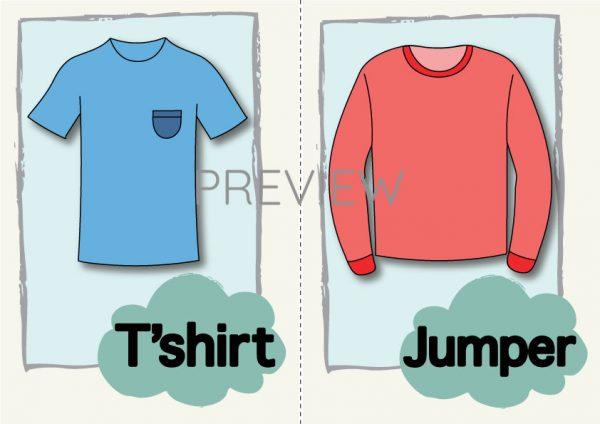 ESL English T-shirt and Jumper Flashcard