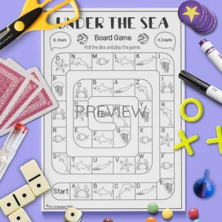 ESL English Under The Sea Board Game Activity Worksheet