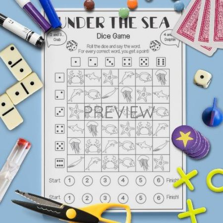 ESL English Under The Sea Dice Game Activity Worksheet