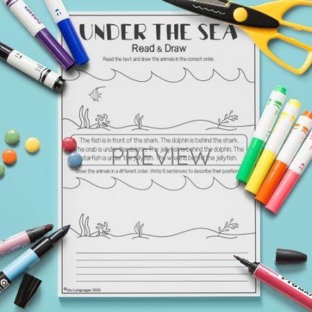 ESL English Under The Sea Draw In Order Activity Worksheet
