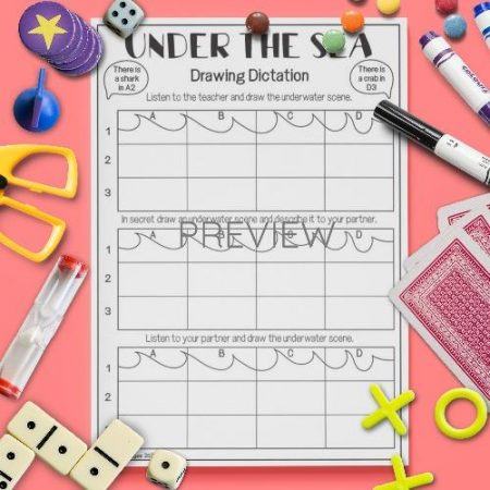 ESL English Under The Sea Drawing Dictation Activity Worksheet