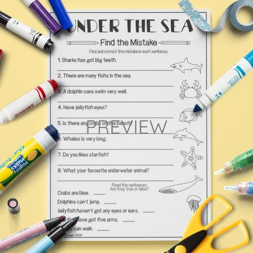 ESL English Under The Sea Find The Mistake Activity Worksheet