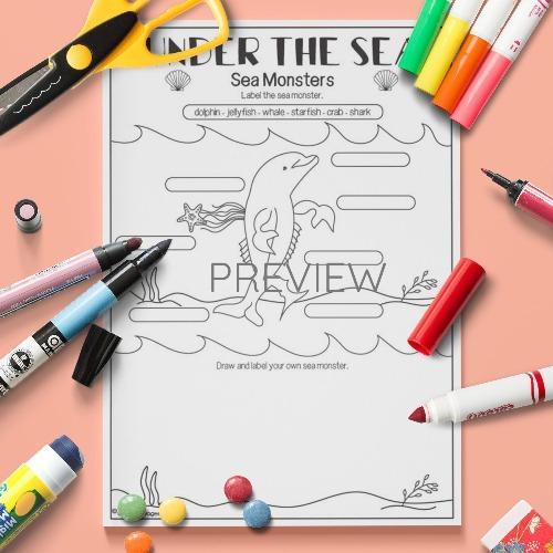 ESL English Under The Sea Monster Activity Worksheet