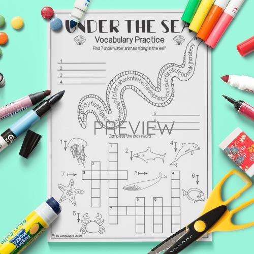 ESL English Under The Sea Vocabulary Activity Worksheet