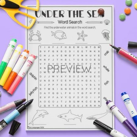 ESL English Under The Sea Word Search Activity Worksheet