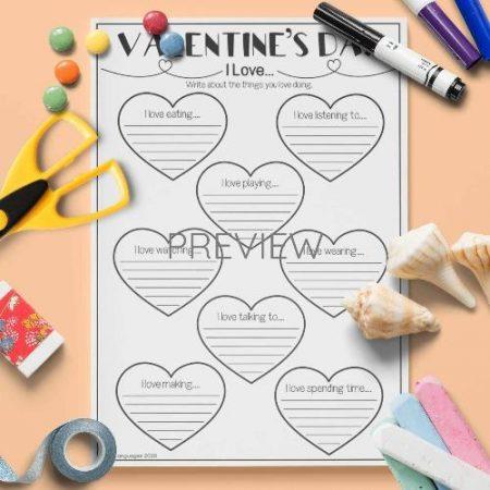 ESL English Valentines Day I Love Writing Activity Worksheet