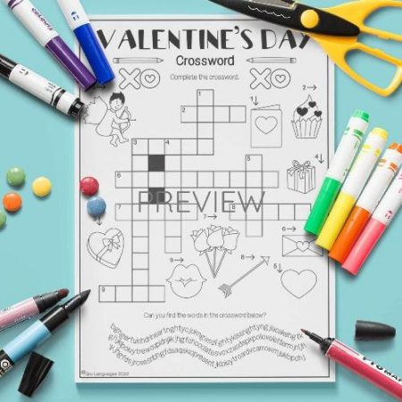 ESL English Valentines Day Crossword Activity Worksheet