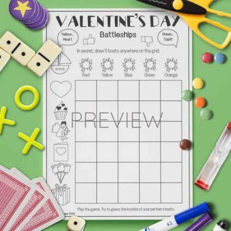 ESL English Valentines Day Battleships Game Activity Worksheet