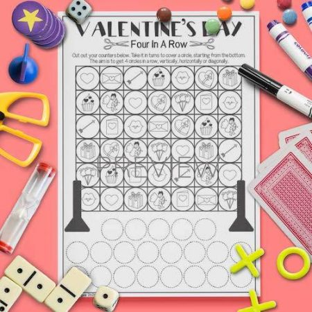 ESL English Valentines Day Four In A Row Game Activity Worksheet