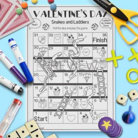 ESL English Valentines Day Snakes And Ladders Game Activity Worksheet