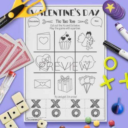 ESL English Valentines Day Tic Tac Toe Game Activity Worksheet