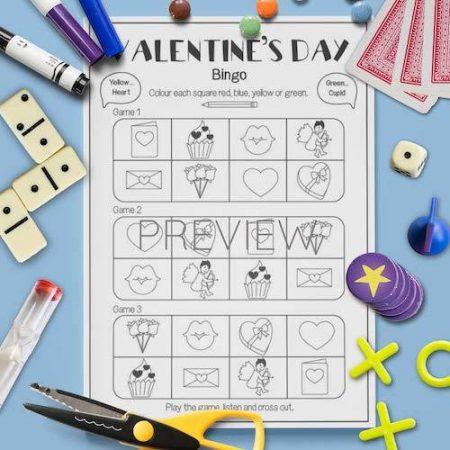 ESL English Valentines Day Bingo Game Activity Worksheet
