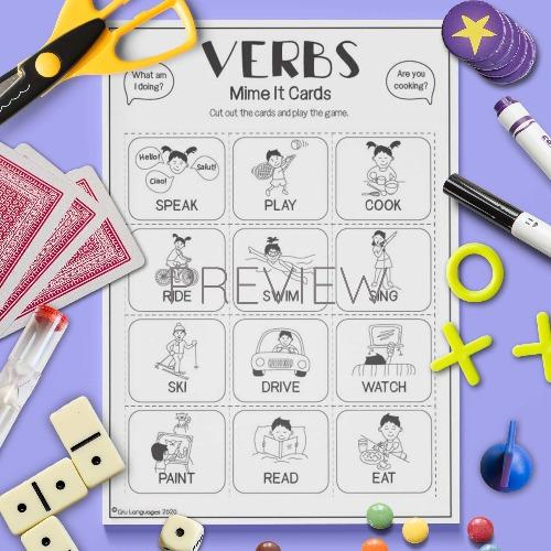 ESL English Verbs Mime It Card Game Activity Worksheet