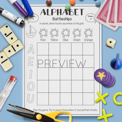 ESL English Alphabet Vowel Battleships Game Activity Worksheet