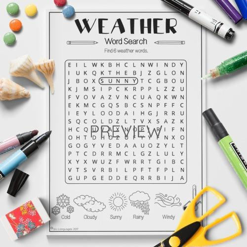 ESL English Weather Word Search Activity Worksheet