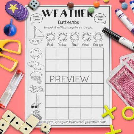 ESL English Weather Battleships Game Activity Worksheet
