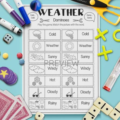 ESL English Weather Dominoes Game Activity Worksheet