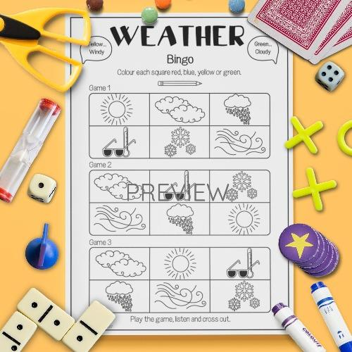 ESL English Weather Bingo Game Activity Worksheet