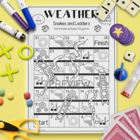 ESL English Weather Snakes And Ladders Game Activity Worksheet