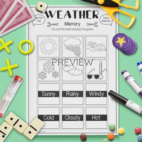 ESL English Weather Memory Game Activity Worksheet