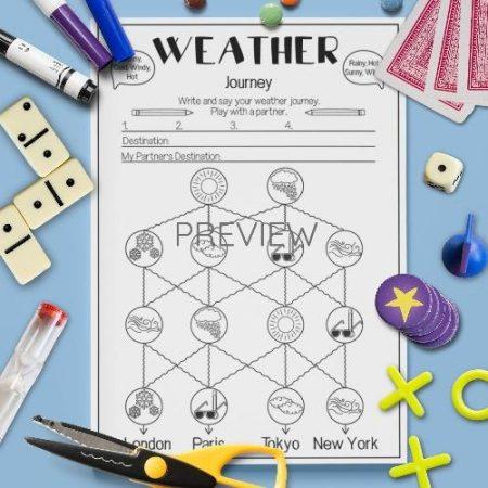 ESL English Weather Pronunciation Journey Activity Worksheet