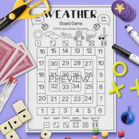 ESL English Weather Board Game Activity Worksheet