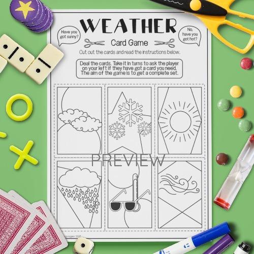 ESL English Weather Card Game Activity Worksheet