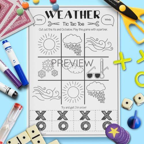 ESL English Weather Tic Tac Toe Game Activity Worksheet