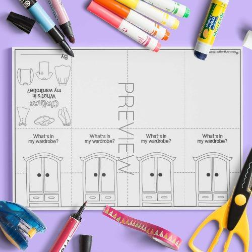 ESL English Clothes Wardrobe Craft Book Activity Worksheet