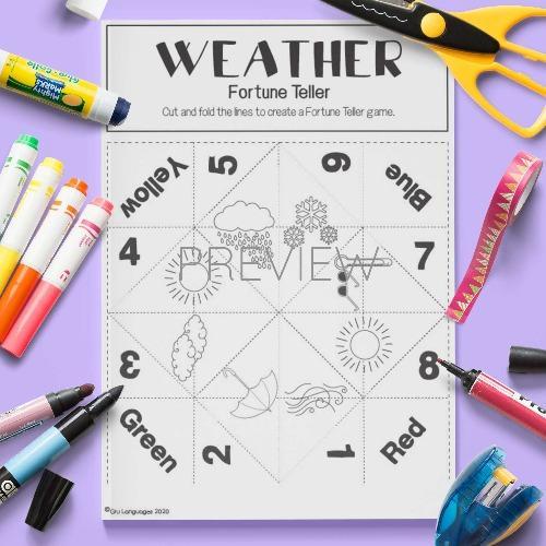 ESL English Weather Fortune Teller Game Craft Activity Worksheet