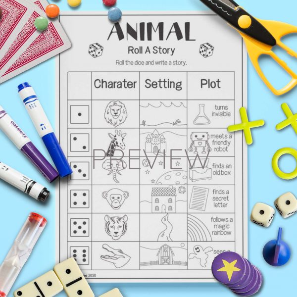 ESL English Wild Animal Roll A Story Activity Worksheet
