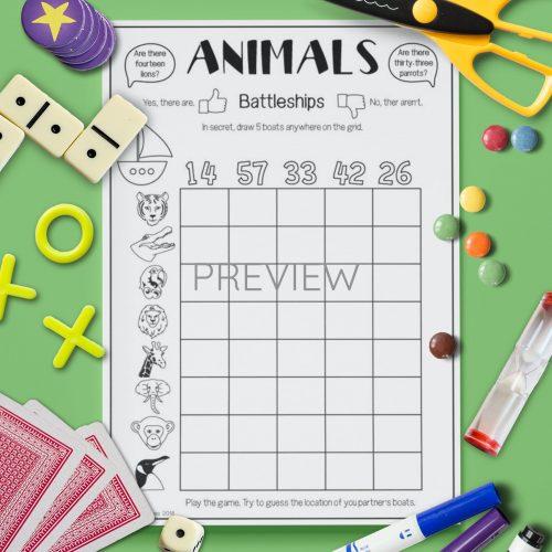 ESL English Wild Animal Battleships Game Activity Worksheet