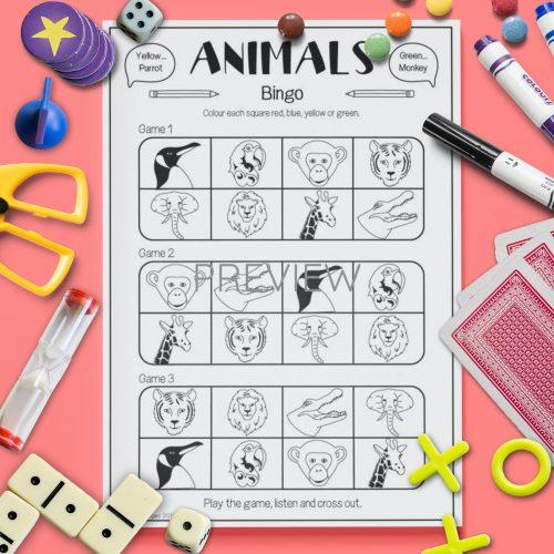 ESL English Wild Animal Bingo Game Activity Worksheet